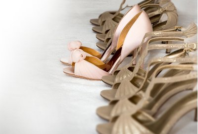 Wedding shoes lined up at a wedding in Raleigh, NC