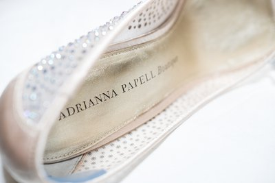 A bride's shoe for a wedding at the Preston Woodall House Bed and Breakfast in Benson, NC
