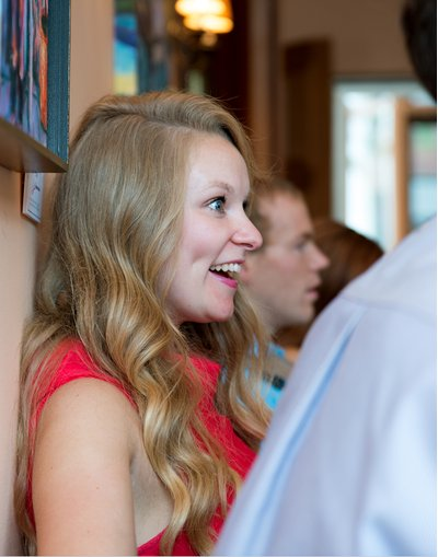 A guest enjoys a wedding reception at cafe luna in downtown raleigh, nc