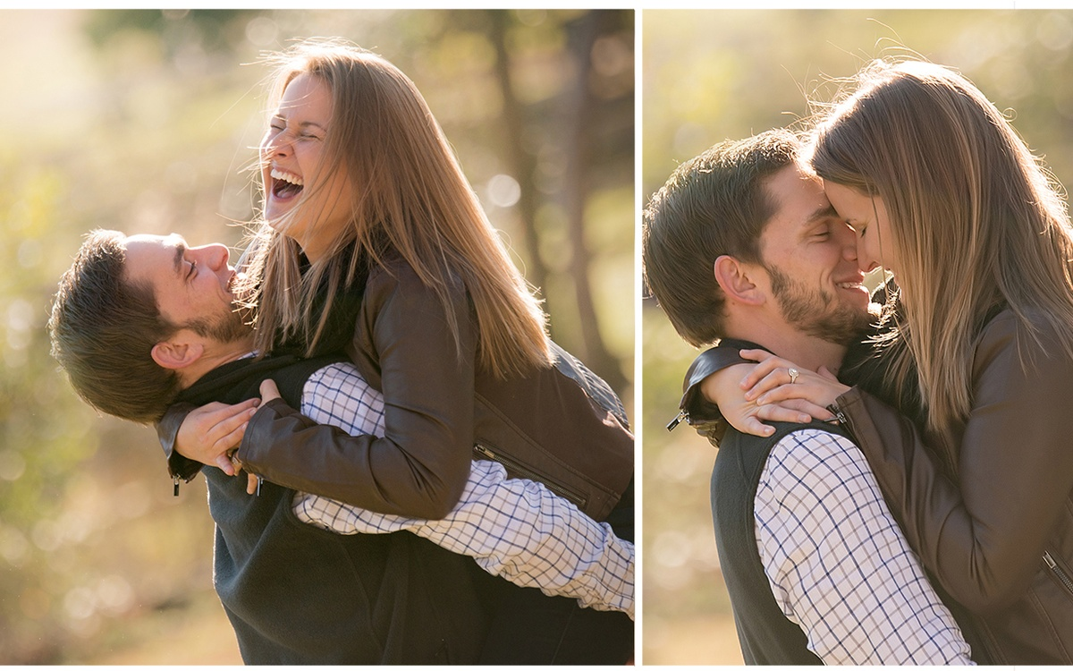 A couple laughing at an engagement shoot on a farm in Chapel Hill, NC