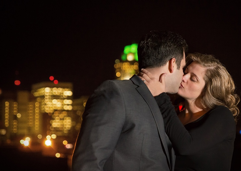 A couple pose for engagement photos at Boylan Street Bridge in Raleigh, NC2
