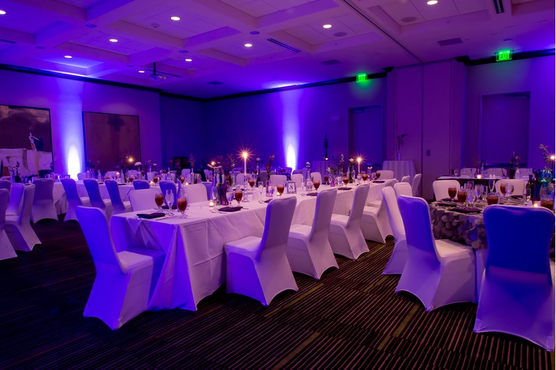 An elegant ballroom wet for a wedding at the Hilton Garden Inn in Raleigh, NC