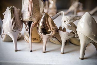 Assortment of bridal party shoes in pink