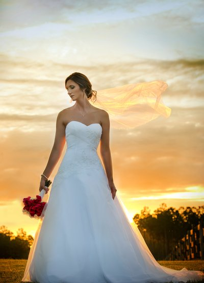 A bride poses in front of a beautiful sunset