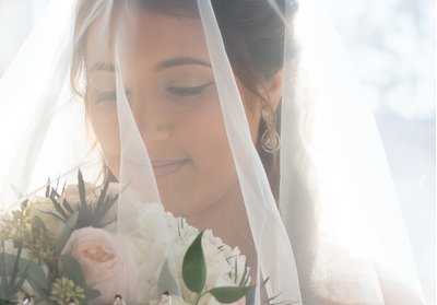 A bride poses under her veil at a wedding in Raleigh, NC