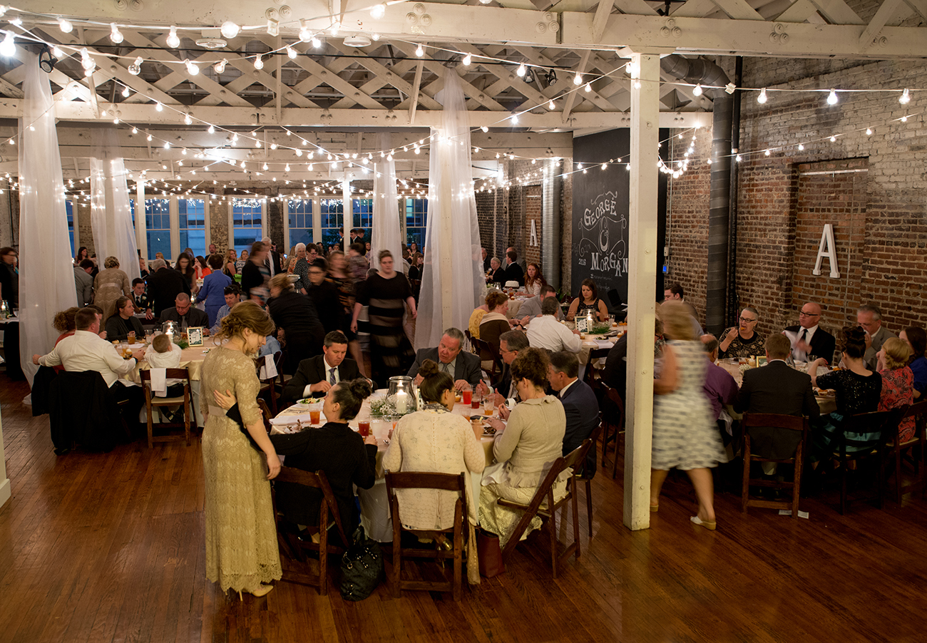 A wedding reception at the stockroom at 230 in raleigh, nc