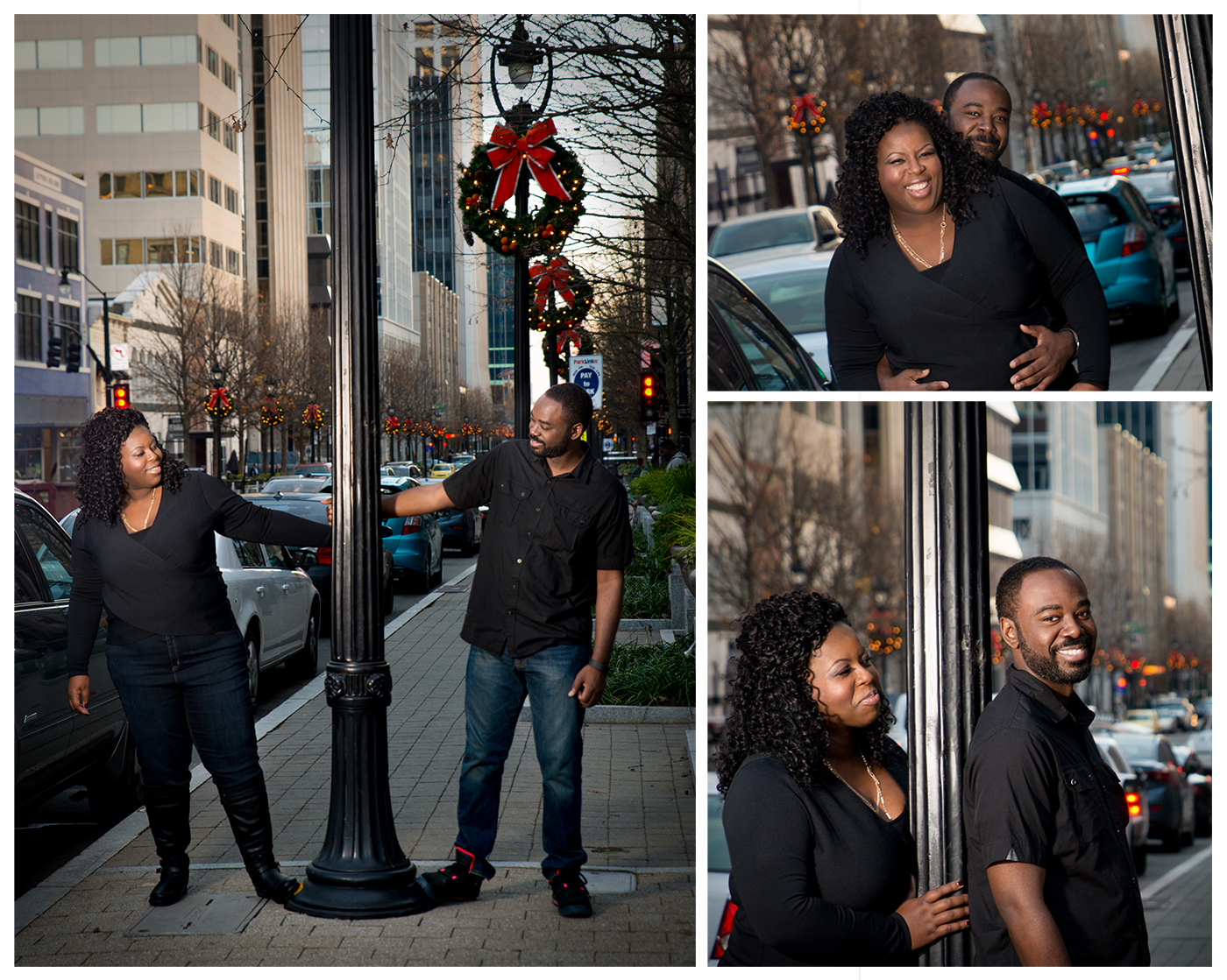 A couple poses during for engagement photos during the holiday season in downtown Raleigh, NC
