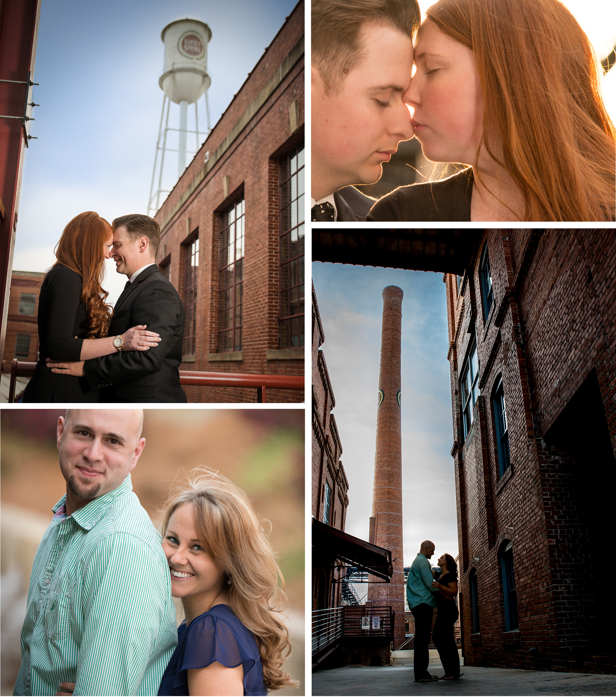 Couples posing for an engagement session at the American Tobacco Campus in Durham, NC
